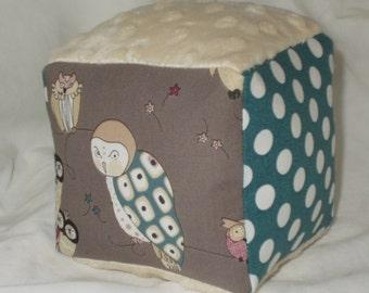 Smoke Gray Owls Fabric Block Rattle Toy