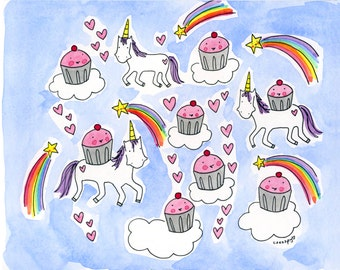PRINT of CakeSpy artwork 8x10 Cupcakes and Unicorns