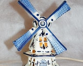vintage lamp night light 10 inches high blue and white delft ceramic windmill holland netherlands Cobalt Blue Porcelain Dutch