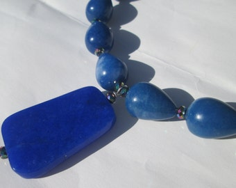 Brilliant Cobalt blue faceted focal stone with sparkly crystal beads hand made necklace pendant statement piece ooak by Ziporgiabella