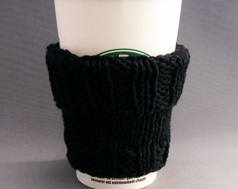 2 in 1 Coffee Cup Cozy Sleeve - Hand Knit - Black Cotton with BONUS Handmade Muslin Drawstring Bag Office Gift under 20