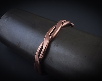 Twisted Rugged Men's Heavy Duty Copper Bracelet Hand Forged