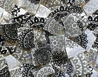 Mosaic Tiles--Mandala-Black and White--75 Tiles