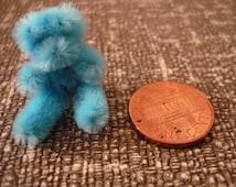 Blue Tiny Teddy Bear Dollhouse Miniature 1/12 scale