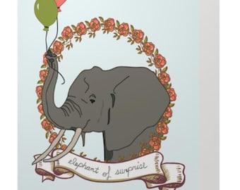 Elephant of Surprise Birthday Card