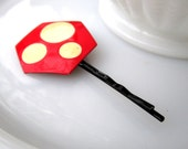 Hex Hairpin - vintage 1980's red and white painted metal hexagon on black hairpin - Free Shipping to USA