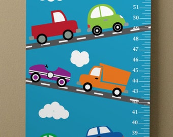 Personalized Vinyl Kids' Transportation Trucks Cars Vehicles Growth Chart