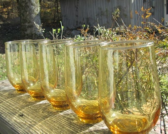 Five Vintage Beverage Glasses - Libby Tempo Gold