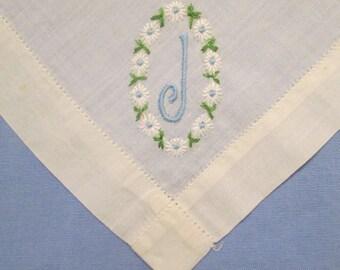 Vintage Wedding Hanky/ Handkerchief - Monogram J - Something Old