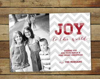 Joy to the World chevron Christmas card, red and gray, printable holiday card, custom photo card