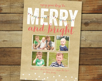 Christmas lights holiday photo card, Merry and Bright, kraft paper look, printable or printed cards, free overnight shipping
