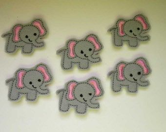Grey with Light Pink Elephant  Style C Embroidered Applique - 059