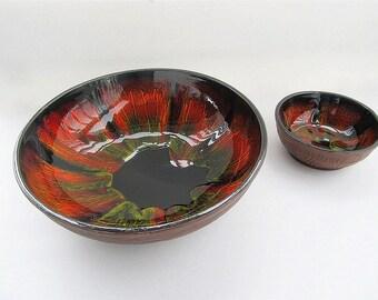 Vintage Large Snack Bowls, Chip and Dip Bowls, Large Serving Bowl, Made in USA