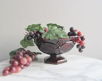 Vintage Ruby Red Dish, Pedestal Bowl, Red Candy Dish, Fruit Bowl Avon