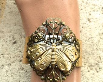 Steampunk Moth Cuff Bracelet, Insect Jewelry, Insect Cuff, Insect Bracelet, Statement bracelet,   Moth Jewelry