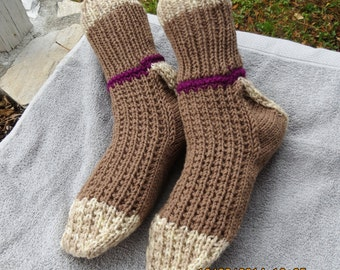 Big and Tall, House Socks, Bed socks, size 12, size 13, size 14, boot socks, non-binding cuff, swollen feet, brown, beige, wide foot,