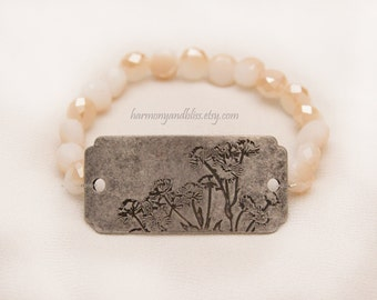 Dandelion charm flower jewelry bracelet yellow  glass beaded bohemian chic handmade stackable stretch bracelet