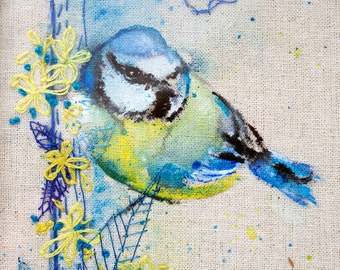 Blue tit bird painting. Original Unique artwork. Hand embroidery & Acrylic Painting. Framed.