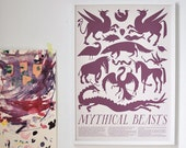 PRINT - Mythical Beasts Art Poster - plum and grey