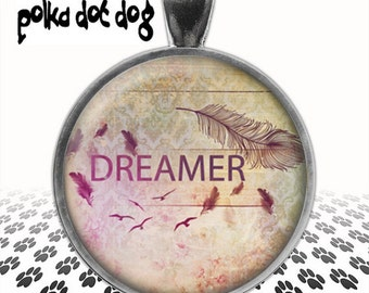 Dreamer -- Vintage-Style Image Large Glass-Covered Pendant