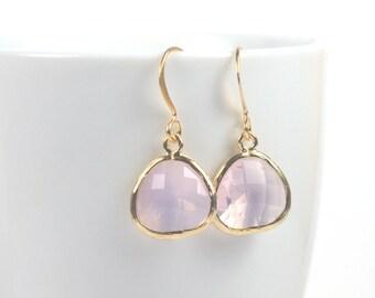 October Birthstone Pink Opal Gold Framed Dangle Earrings, Gold Earrings, Pink Gold Earrings, October Birthstone Earrings #807