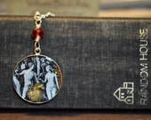 Adam and Eve original collage pendant set under resin in sterling silver bezel on mixed sterling silver necklace.  Religious themed jewelry