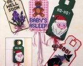 Leisure Arts 366 80s Era Craft Booklet for Plastic Canvas Door Signs Vintage Retro Santa Baby Get Well Signs