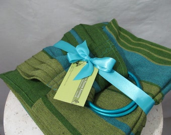 Ring Sling Baby Carrier Wrap Conversion, WCRS, Woven Ring Sling - Little Frog Azurite Twill Weave Pleated Shoulder - DVD included