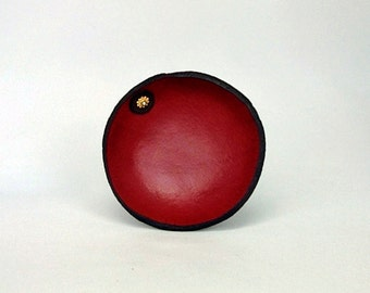 Red mini leather blessing bowl with leather and bead accent No. 2699
