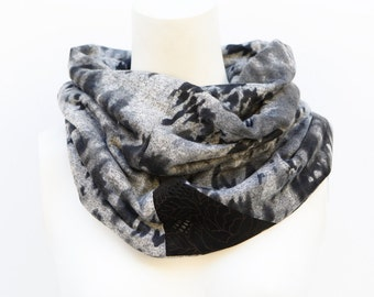 Black Gray Infinity Scarf