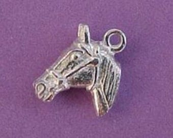 pewter horse head charm pendant small 3D jewelry findings pendant equestrian WV16 Made in America quantity 2