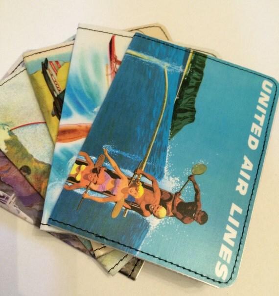 Slim Wallet- Hawaii Air Travel Advertisement Postcard- Choose 1