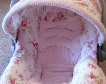My  shabby chic infant car seat cover made for a Graco up to 35 lbs