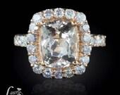 Morganite Ring, Morganite Engagement Ring, Cushion Cut Morganite Ring, Diamond Halo Engagement Ring, Pink Diamond Ring - LS2983