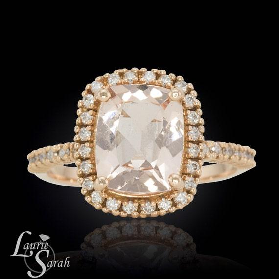 Morganite Ring Cushion Cut Morganite Engagement Ring 3 carat