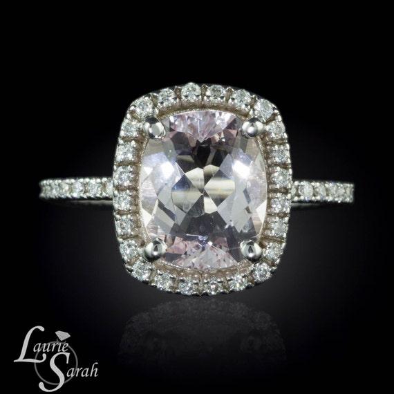 3 carat Morganite Cushion Cut Ring Cushion by LaurieSarahDesigns