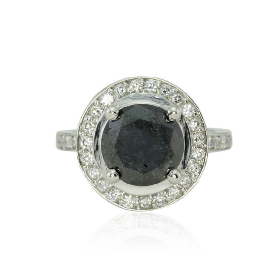 Black Diamond Engagement Ring, Platinum Black Diamond and White Diamond Engagement Ring - LS1823