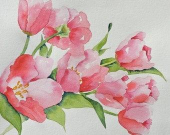 Tulips-Fine Art Print of My Original Watercolor Painting of Peachy Pink Tulips