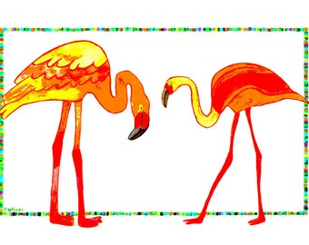 Flamingo, Flamingos, Two Orange Flamingos, Two Orange Flamingos Walking and Talking: Print of an original watercolor
