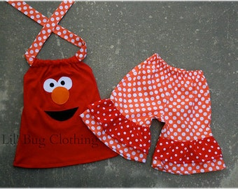 Custom Boutique Clothing Sesame Street Elmo Red White Orange Dot Short Set
