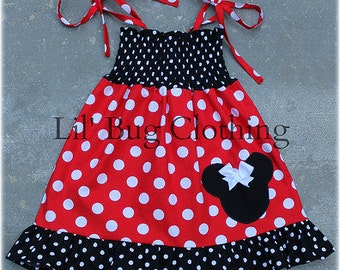 Minnie Mouse Smocked Dress, Red White Polka Dot Minnie Mouse Dress, Minnie Mouse Birthday Dress