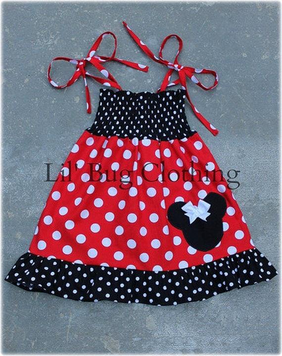 Minnie Mouse Smocked Dress, Red White Polka Dot Minnie Mouse Dress, Minnie Mouse Birthday Dress