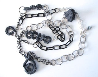 "Fiberpunk™ Necklace - Pewter Gray - Extra Long 25"" / Fiber Jewelry / Crochet Jewelry / Tatted Jewelry"