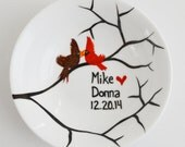 Winter Love Birds Ring Dish - Customized Anniversary and Wedding Gift - Personalized Winter Wedding, Valentines Day Gift