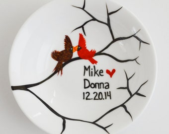 Winter Love Birds Ring Dish - Customized Anniversary and Wedding Gift - Personalized Winter Wedding, Valentines Day Gift, Free shipping