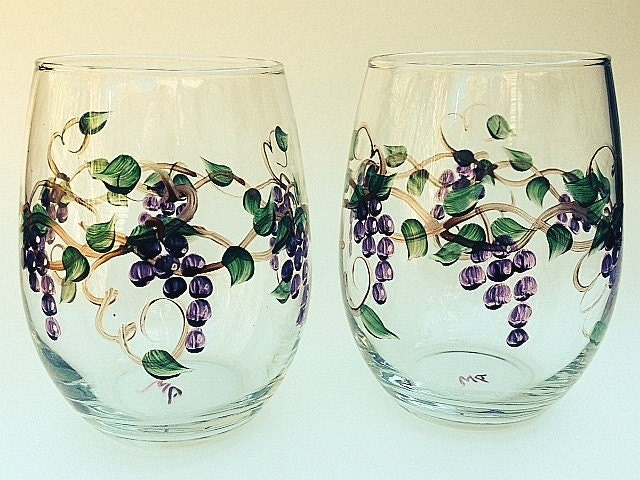 Stemless grape hand painted wine glasses set of by for Painted stemless wine glasses