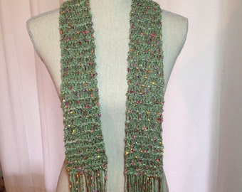 Hand Knit Cotton/Polyester Scarf