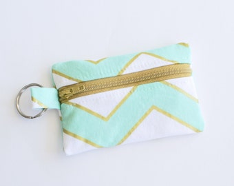 Zippered Pouch, Small Card Case, Mint Green and Gold Chevron