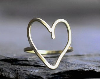 heart ring gold heart ring minimalist ring simple heart ring modern cocktail ring large open heart ring silver heart ring big HEART RING