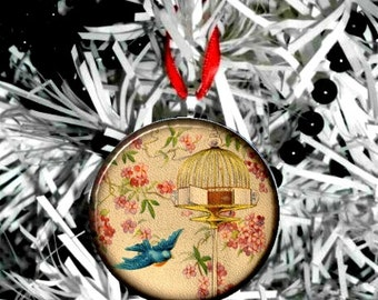 Bird Flying From Cage Christmas Ornament